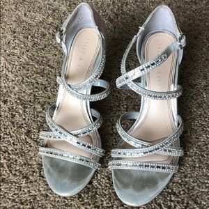 Kelly & Katie Silver Rhinestone Evening Heels